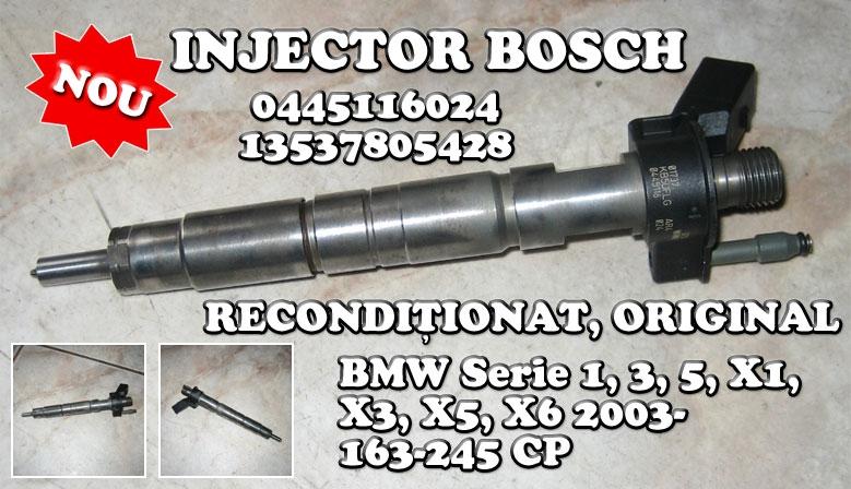Nou! Injector recondiționat original Bosch 0445116024 / 13537805428, pentru autovehicule BMW Serie 1, 3, 5, X1, X5 și X6, cu motor 2.0 de 163, 177, 204, 211 și 245 CP, fabricate după 2003.
