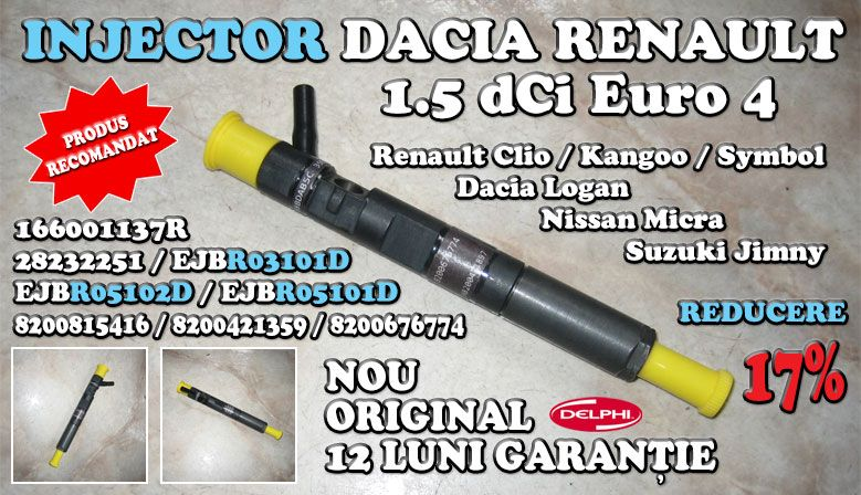 Injector common-rail Dacia Renault 1.5 dCi Euro 4 166001137R / 28232251 / EJBR03101D / EJBR05102D / EJBR05101D / 8200815416 / 8200421359 / 8200676774 / R05101D / R03101D / R05102D